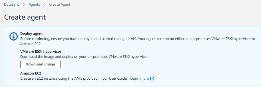 AWS には、エージェントをデプロイするための 2 つのオプション、すなわち、VMware イメージまたは EC2 イメージがあります。オンプレミス環境からの移行については、VMware イメージをダウンロードしてください。