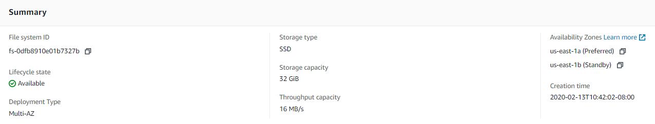Amazon FSx ファイルシステムのサンプル仕様