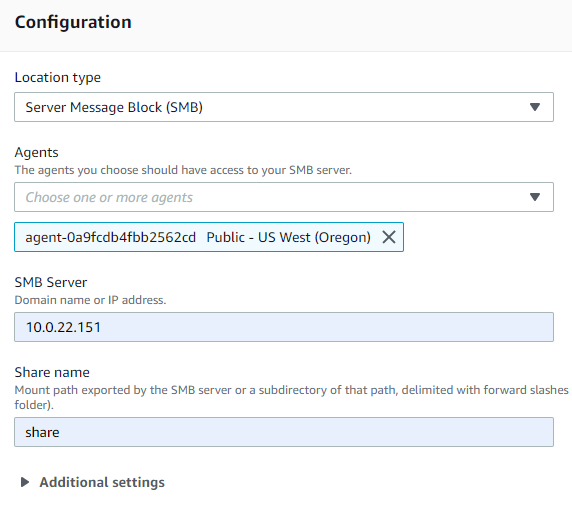 On the Configuration screen, you will specify the source location options.
