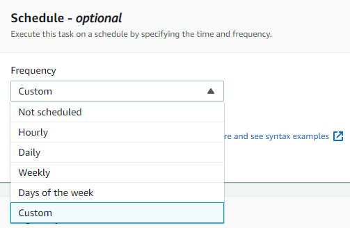 On the Schedule option, show in the following screenshot, you can specify when you want the AWS DataSync task to run.
