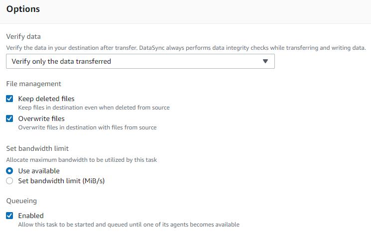 次の画面で、DataSync タスク設定を設定します