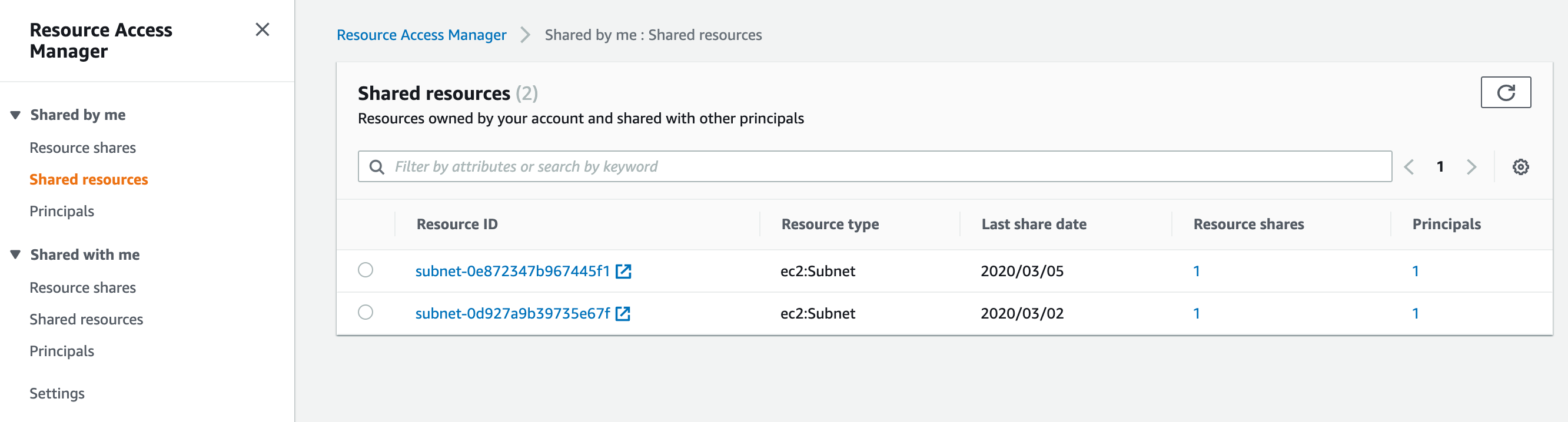When the resource share is created, this shares your two subnets with the application account and displays the following under shared resources