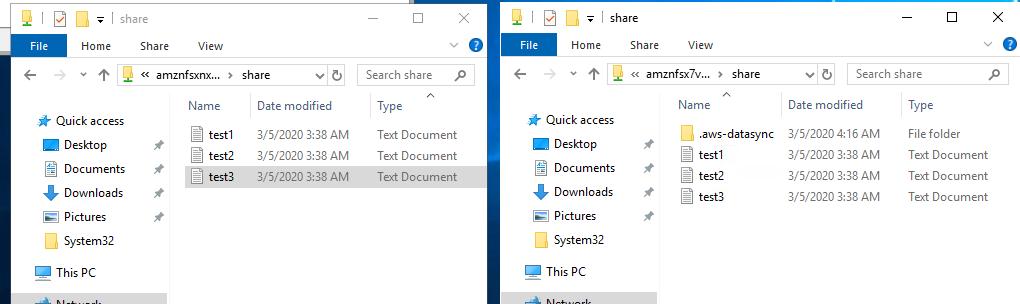 AWS DataSync タスクがファイルをコピーすると、Amazon FSx ファイルシステムにファイルが表示されます。