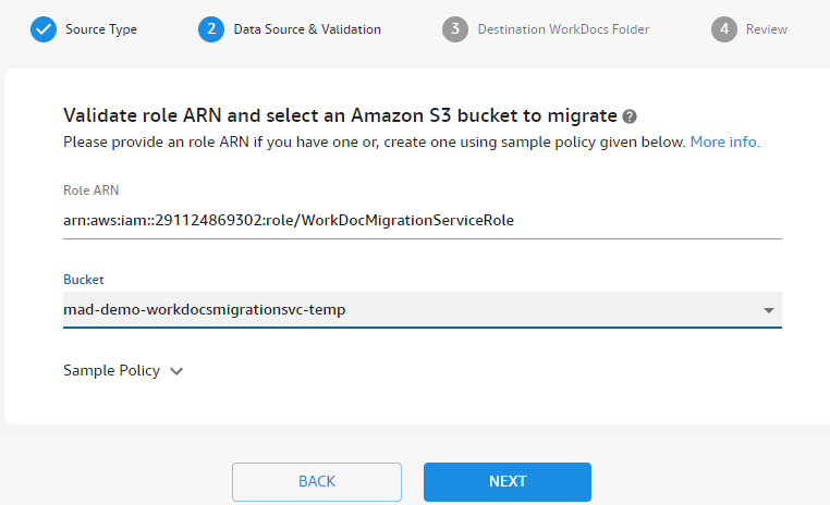 For Data Source & Validation, create and provide Role ARN from the IAM role and select your Amazon S3 bucket