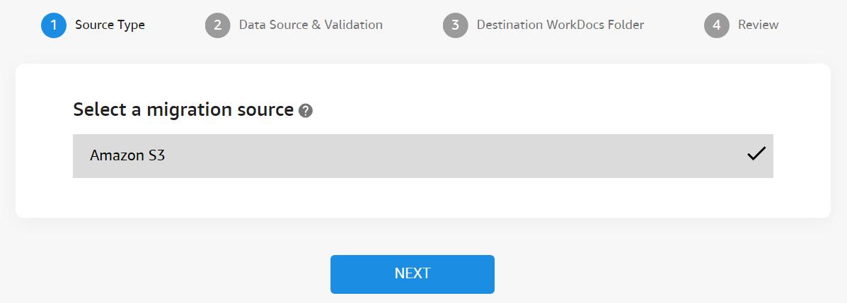 [ソースタイプ] で、[Amazon S3] を選択します