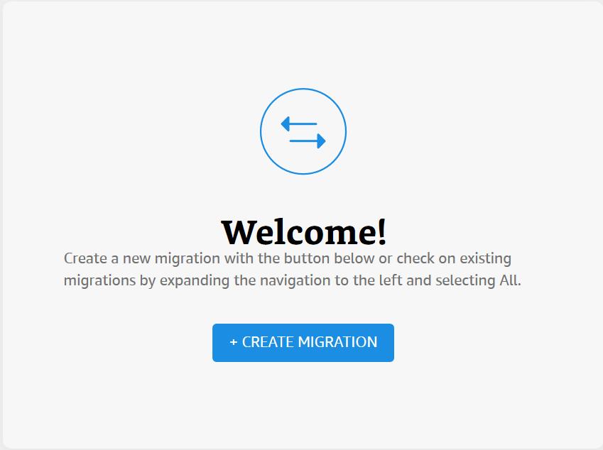 Amazon Migration Service コンソールから、[移行の作成] を選択します