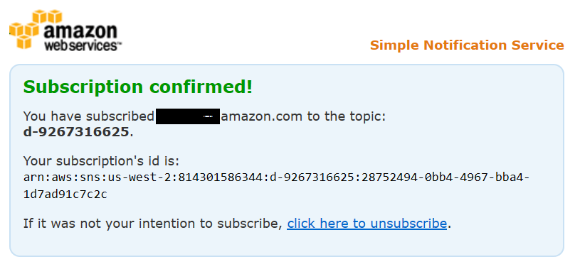 Screenshot of subscription confirmation of email notifications