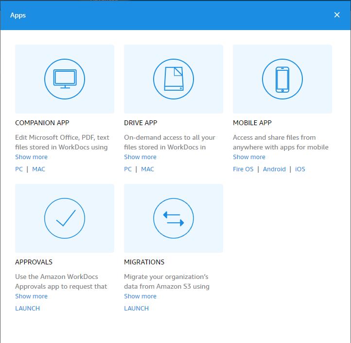 移行をスケジュールするために最初に行う必要があるのは、WorkDocs コンソールに移動することです。次に、[アプリ] を選択し、[移行] を選択する必要があります