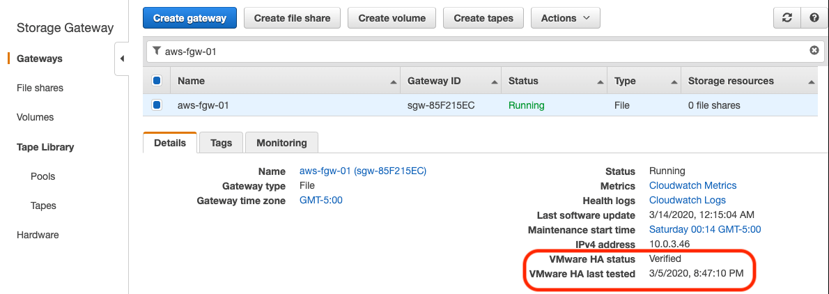 An example of a File Gateway that was deployed in a VMware Cluster on-premises with High Availability enabled.