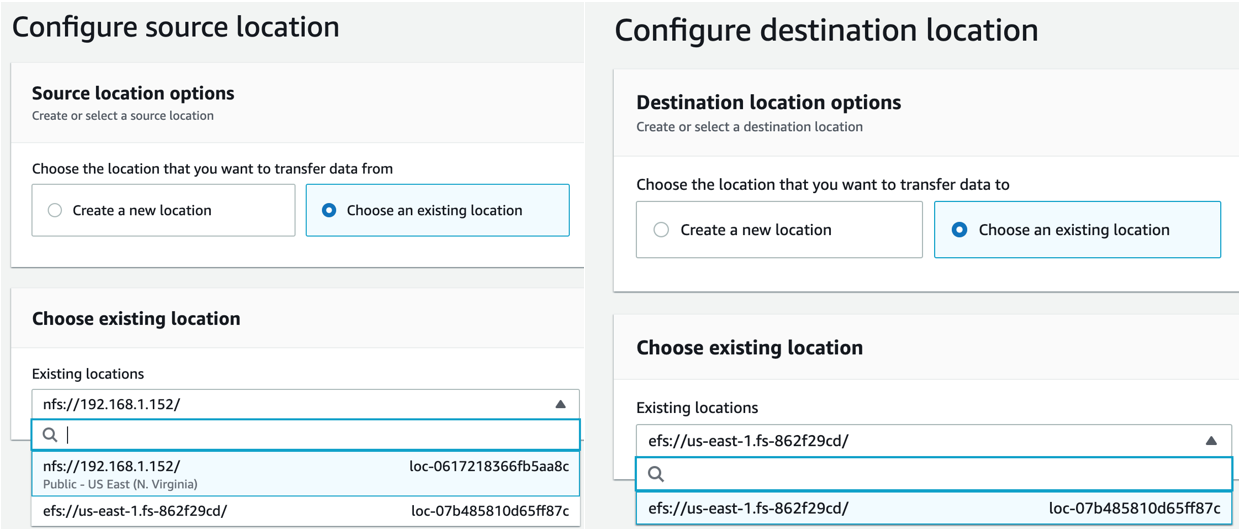 Configure source and destination location