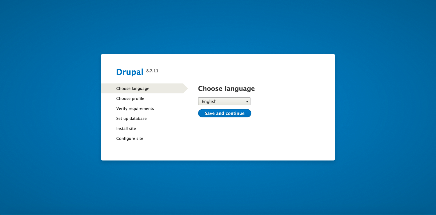 Go to the web browser and start the Drupal installation.
