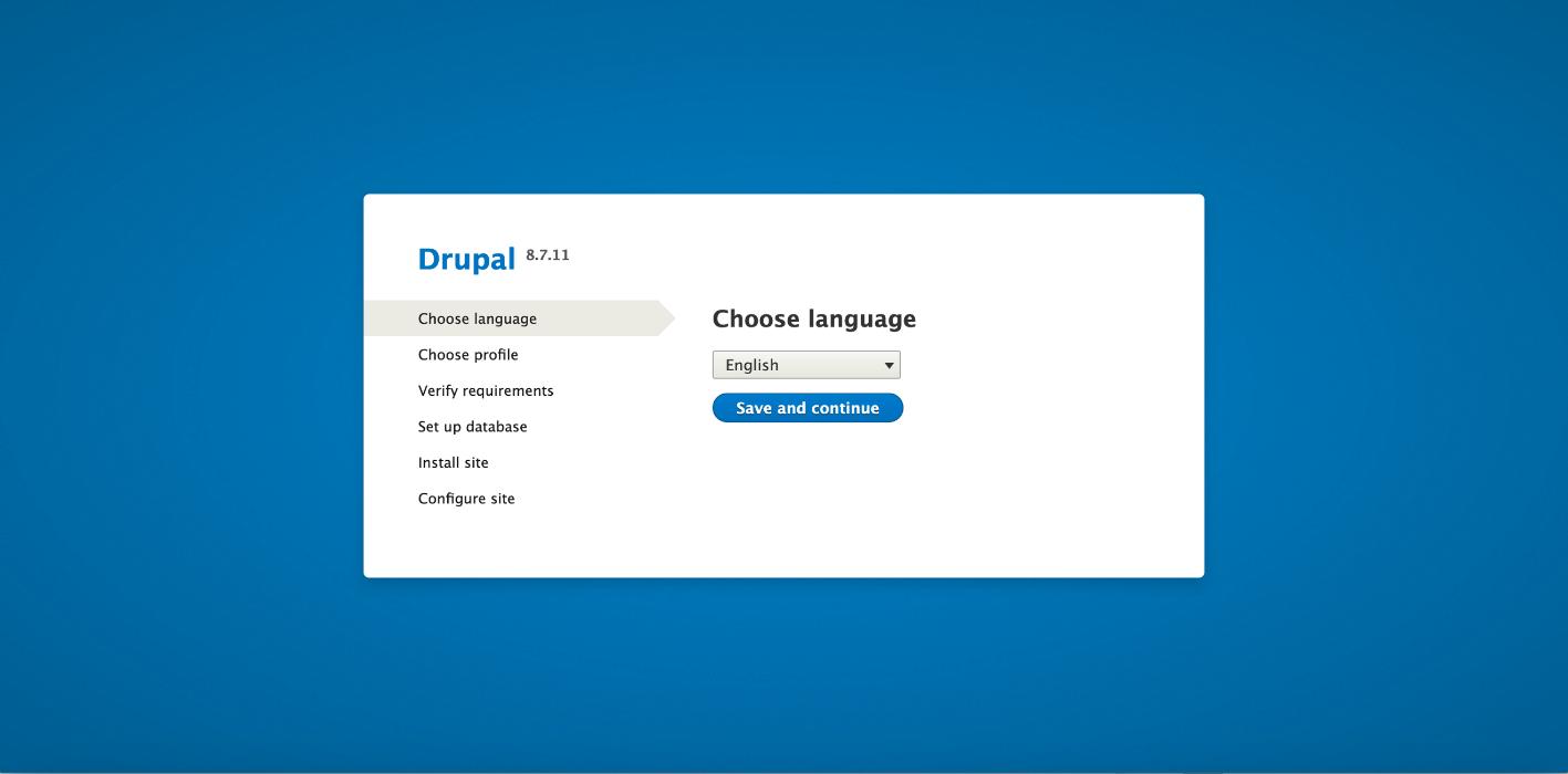ウェブブラウザに移動して、Drupal のインストールを開始します。