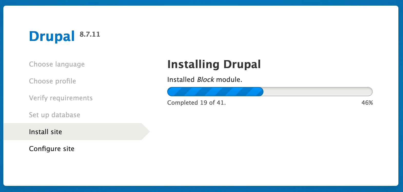 Once the Save and continue option is selected, Drupal begins installation.