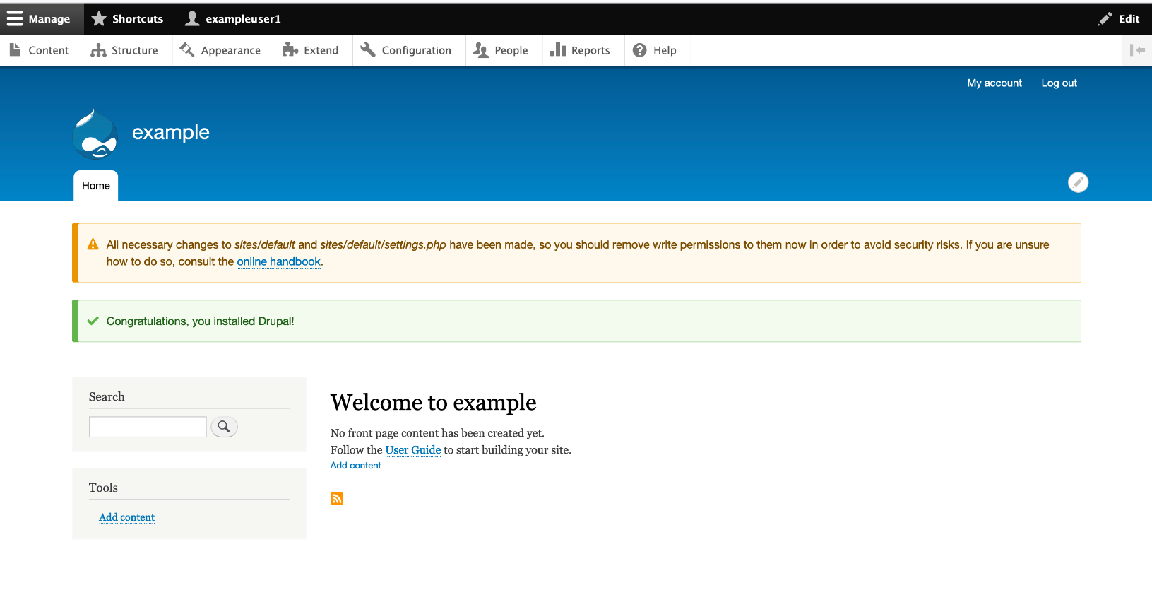 Open up your browser and point to the new site. If the documented process was followed, you see the following page
