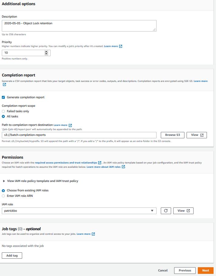 追加オプション - 完了レポート - アクセス許可 - ジョブタグ