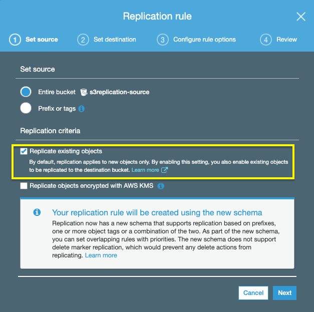 To replicate existing objects, under Replication criteria, check the Replicate existing objects box, which enables S3 replication for existing objects