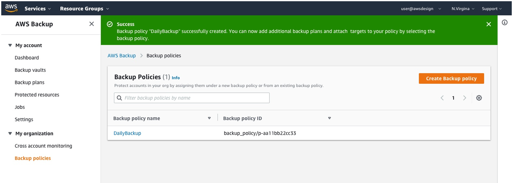 Now that your backup policy is created you are ready to attach it to accounts or even organizational units in your organization by clicking into your newly created backup policy.
