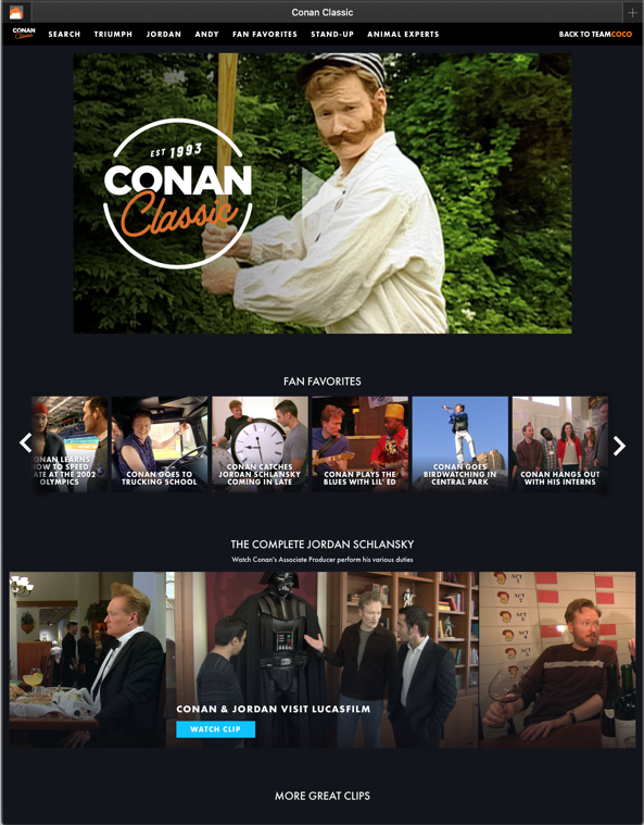 TeamCoco website homepage - Conan holding a club.