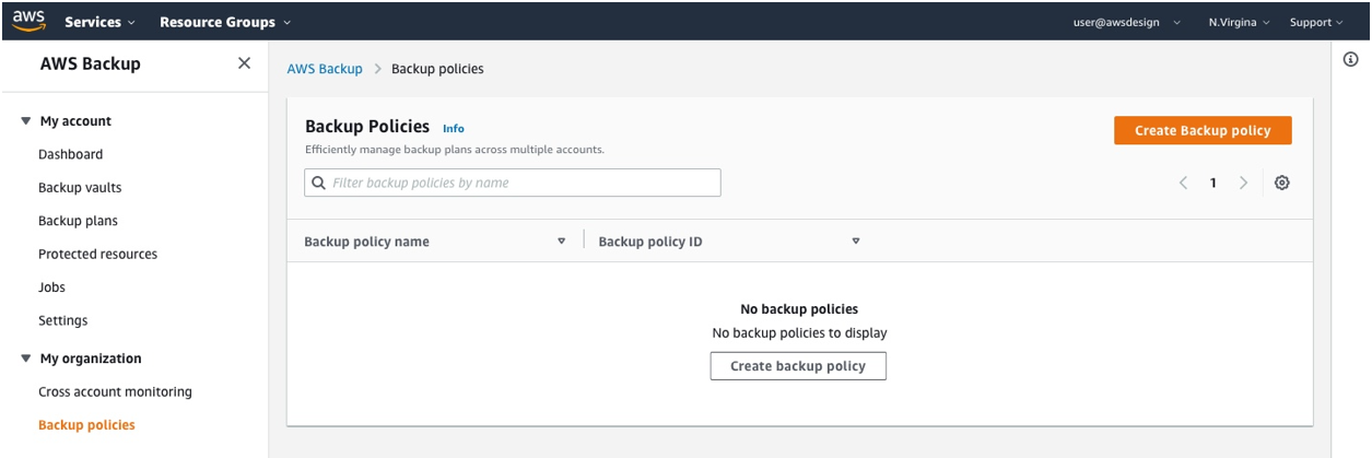 "You can now create your first backup policy on the backup policy page under ""My organization."""