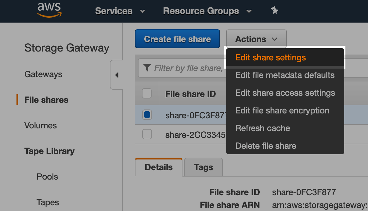 Configuring automatic cache refresh in the console - go to the correct file share, then actions, and edit file share.