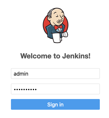 Welcome to Jenkins log in screen - user name and password entry.