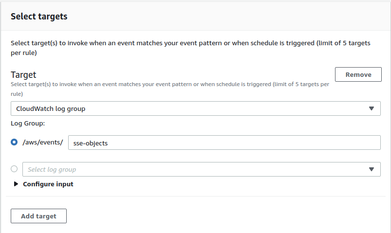 The Select targets section should look like this in the EventBridge page when adding a CloudWatch log group as the target