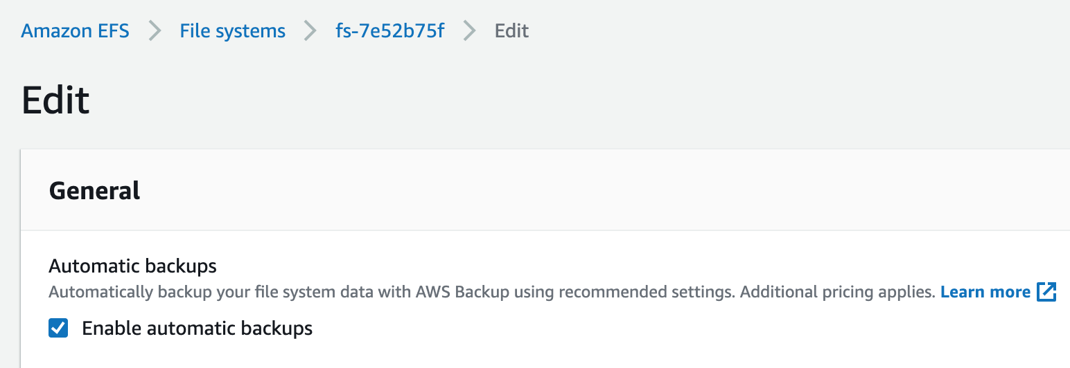 Enabling automatic backups for your file systems in the EFS Console