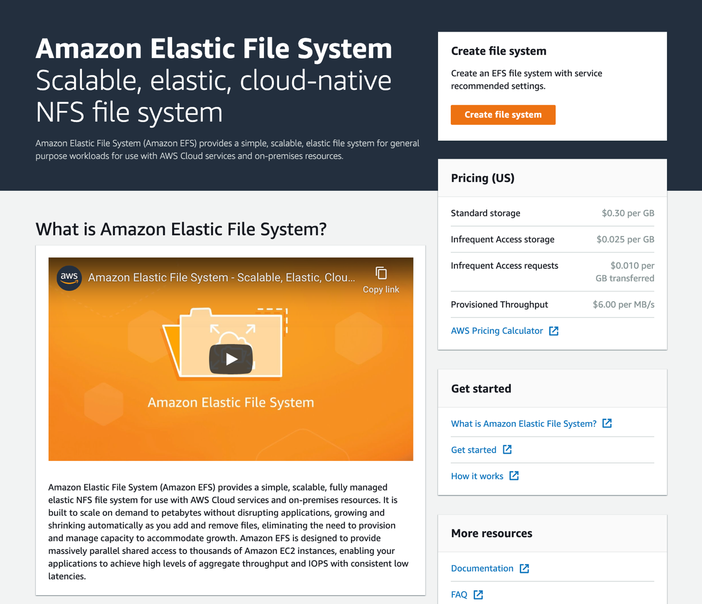 First look screenshot at the updated Amazon EFS console - name at the top, intro video below, pricing on the right, create file system top right