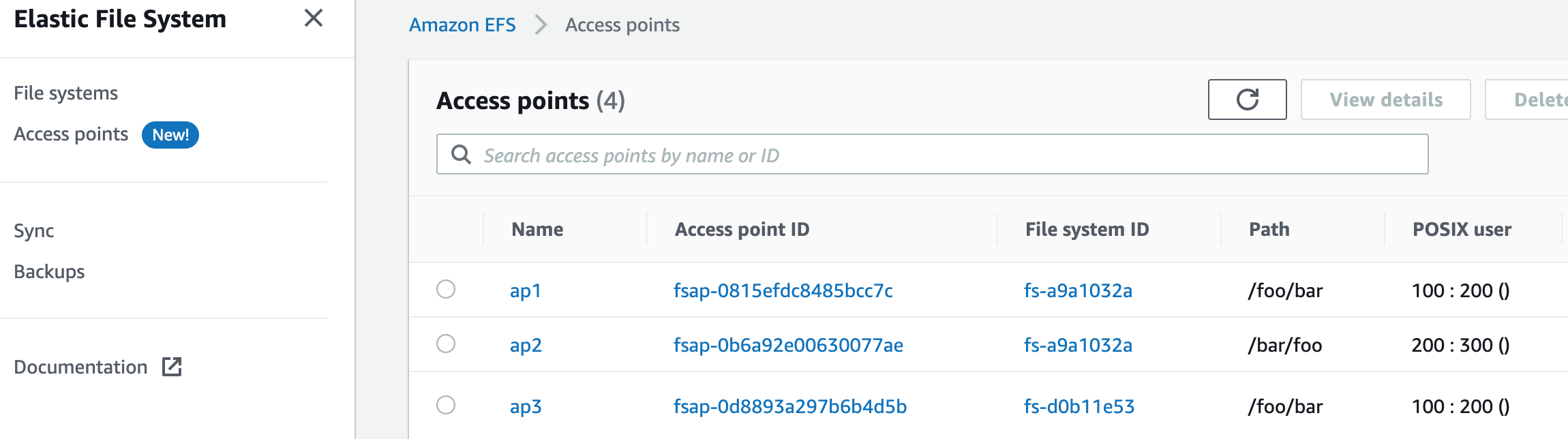 You now have an Access points-specific view for managing access points across your file systems.