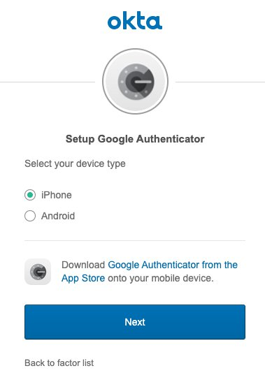 Select Setup under Google Authenticator and continue setting up Google Authenticator for this Okta user.