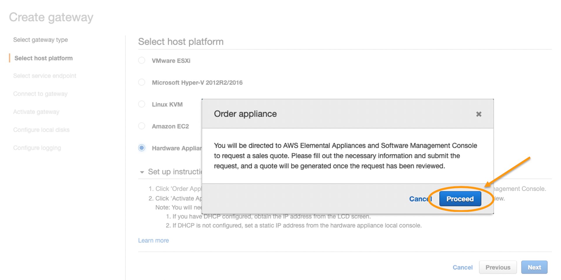 Click to proceed through the pop-up message informing you that you are being directed to the AWS Elemental Appliances and Software Management console