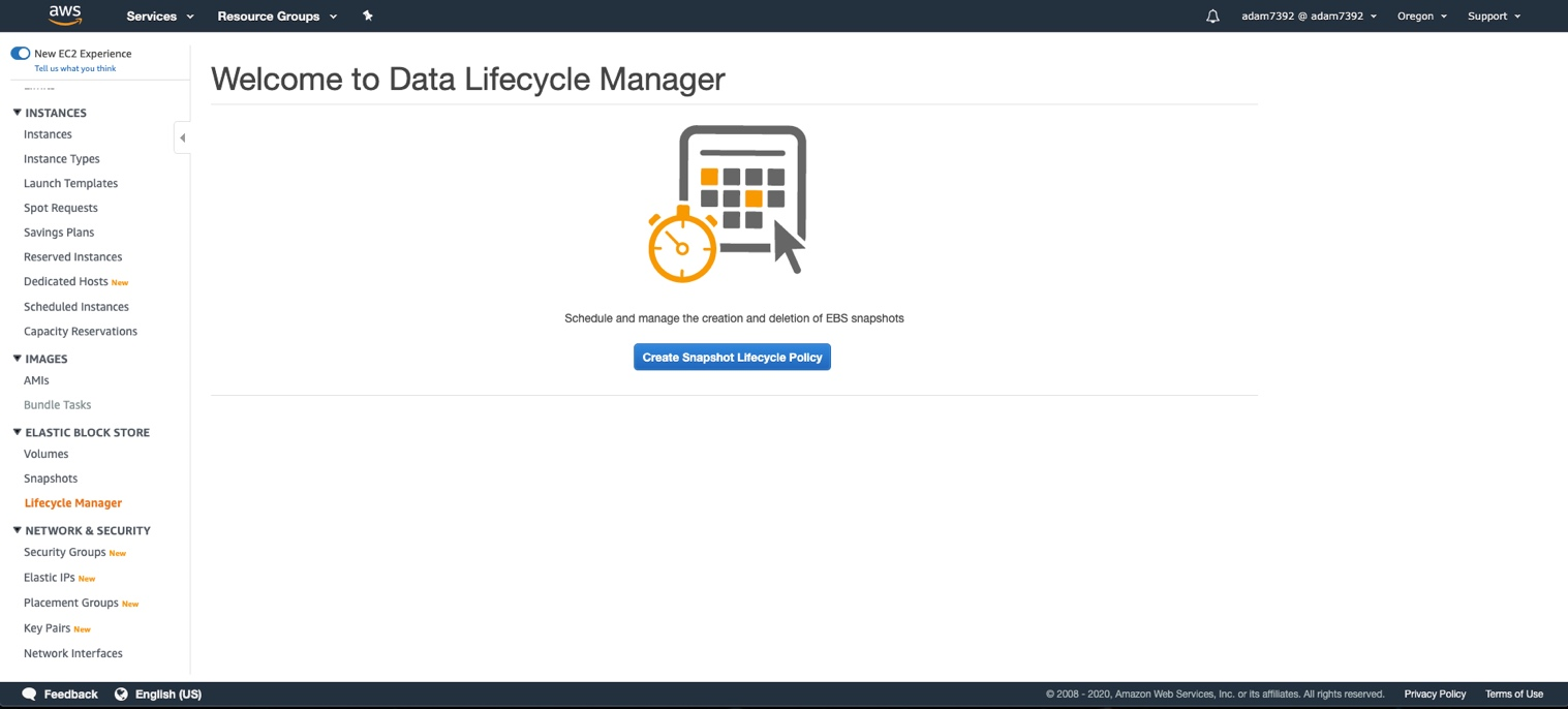 To get started with Amazon DLM, launch the AWS Management Console and select Lifecycle Manager under the EBS navigation area of the Amazon EC2 dashboard