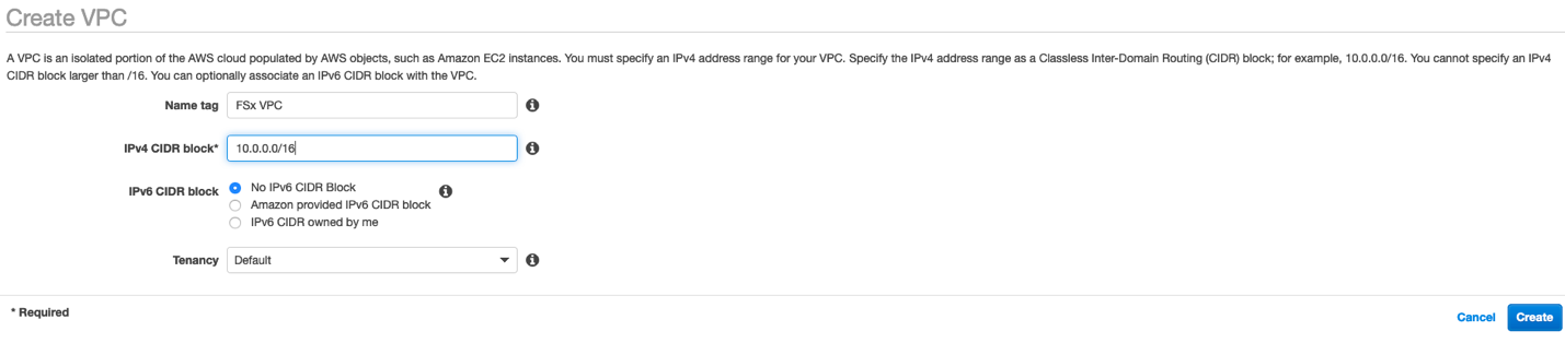Create a new Amazon VPC - name your Amazon VPC and choose Create.