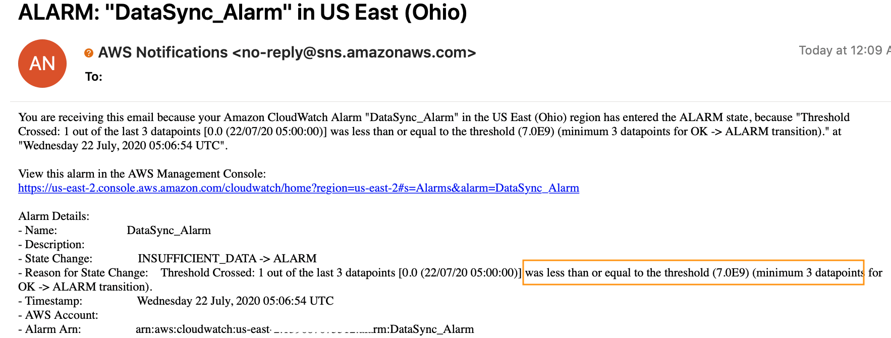 Example of the CloudWatch alarm that gets sent to your email