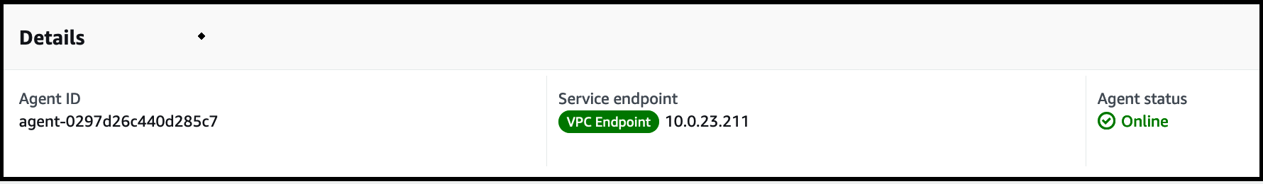 A successfully activated DataSync agent with Agent ID and Service endpoint.