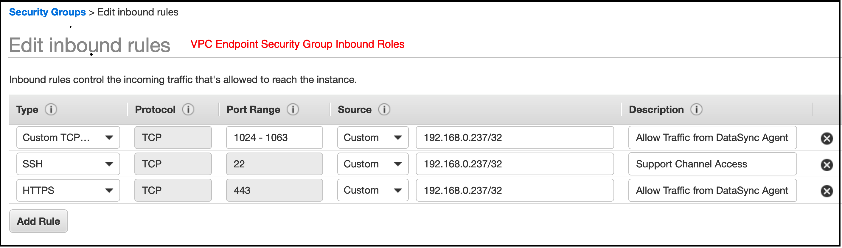 Configure inbound rules allowing the agent's private IP in the source Region (192.168.0.237 in the screenshot) to connect to the IPs DataSync uses.