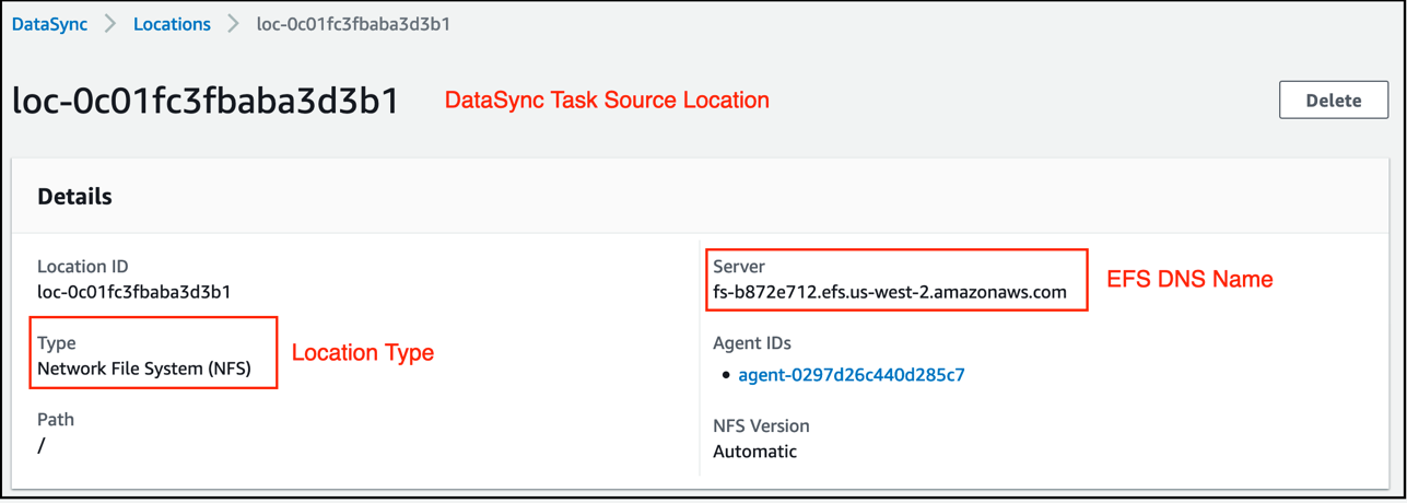 Source location configuration in detail, with location type as NFS and Server as the EFS DNS name.
