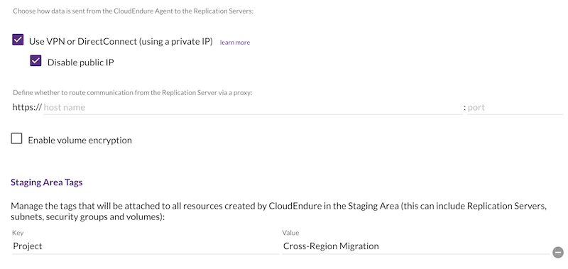 Choose how data is sent from the CloudEndure Agent to the Replication Servers