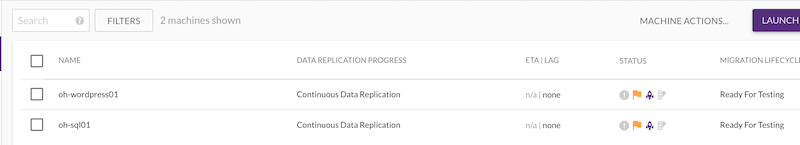 When replication is complete, the replication status will change from a progress bar to Continuous Data Replication
