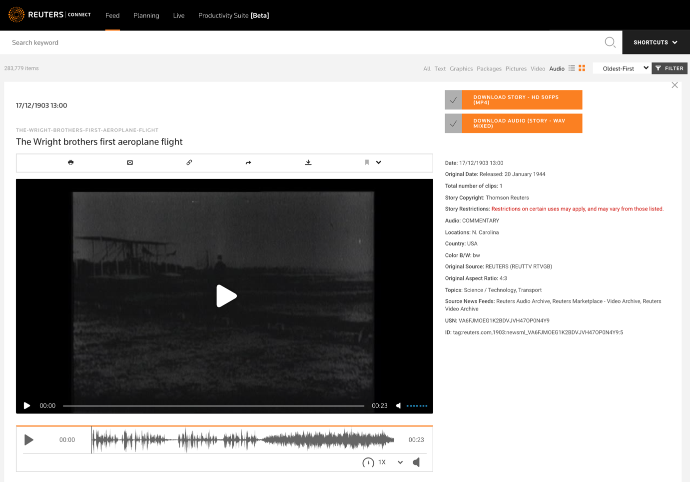 An example of an archive clip with its audio track available for purchase on Reuters Connect