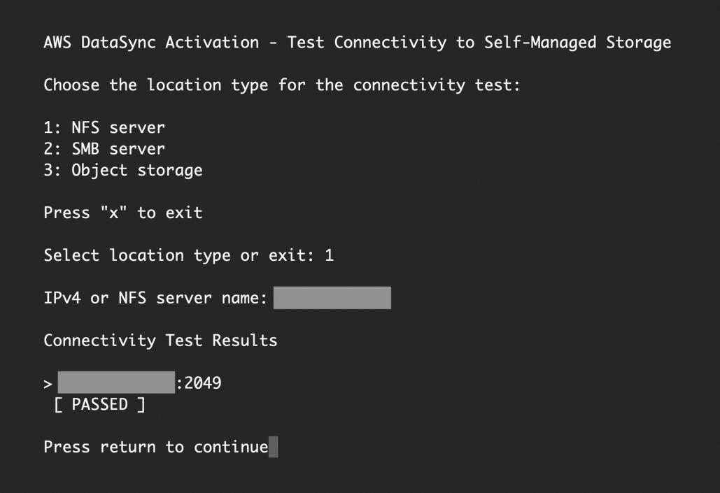 Select the location type and provide the server's IP address or hostname to run the connectivity tests.