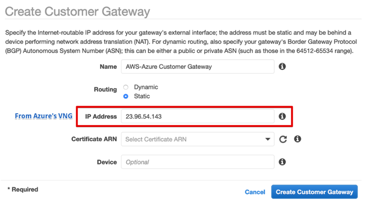 Create a Customer Gateway; you need the Public IP address on Azure's VNG for this