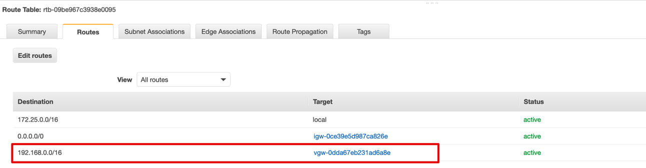 Next, create Routes on the Amazon VPC Route Table.