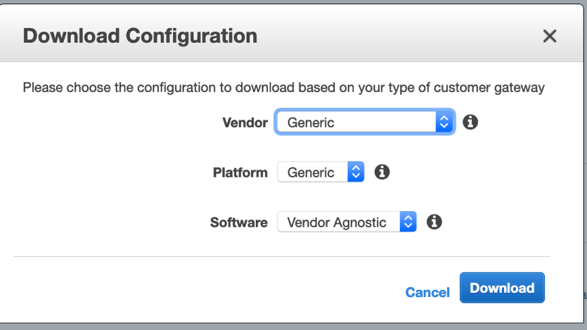 On this screen, make sure you choose Generic as the Vendor option.