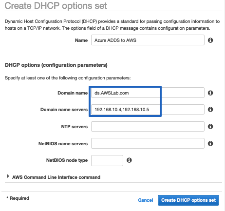 Use the 2 IP addresses and DNS name to create a DHCP options set in AWS, then associate this with the Amazon VPC.