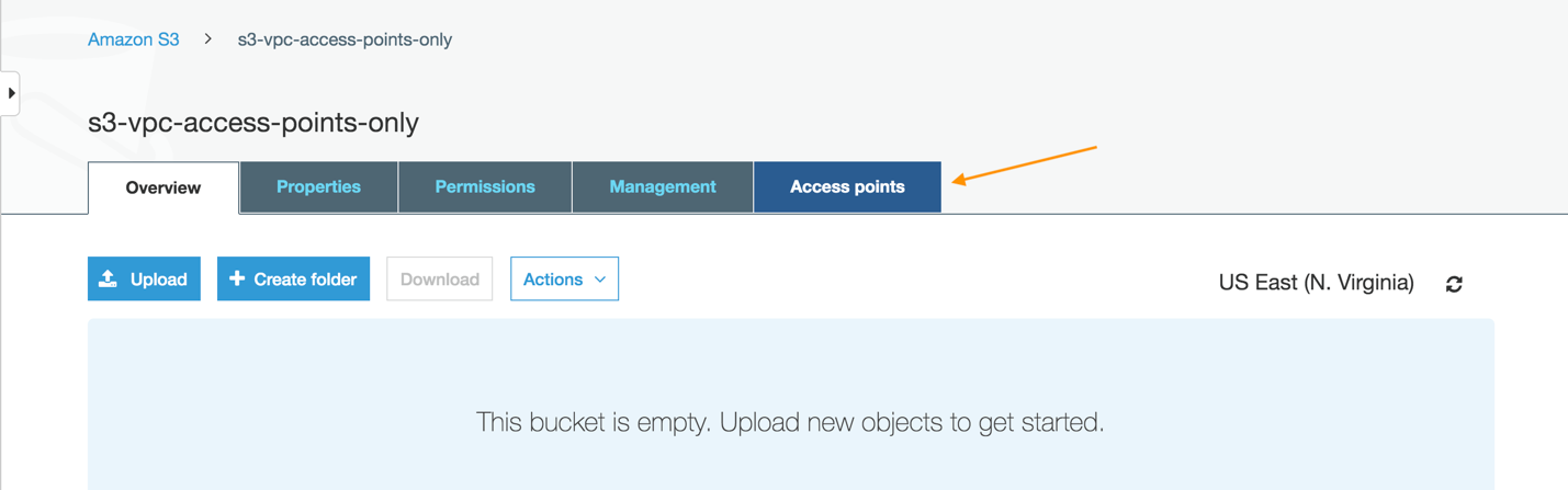 Choosing Access points in the Amazon S3 Console after finding the bucket you want to allow access from your VPCs