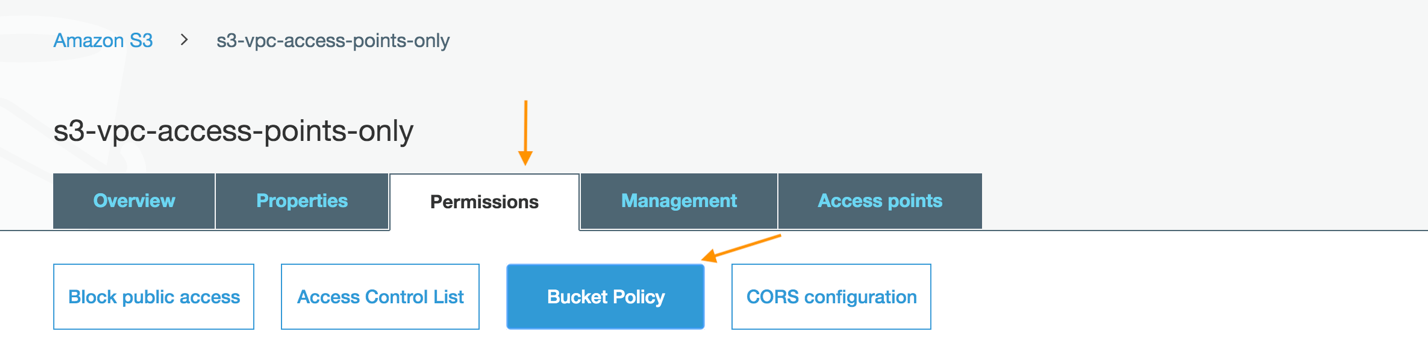 Click Permissions, then click Bucket Policy