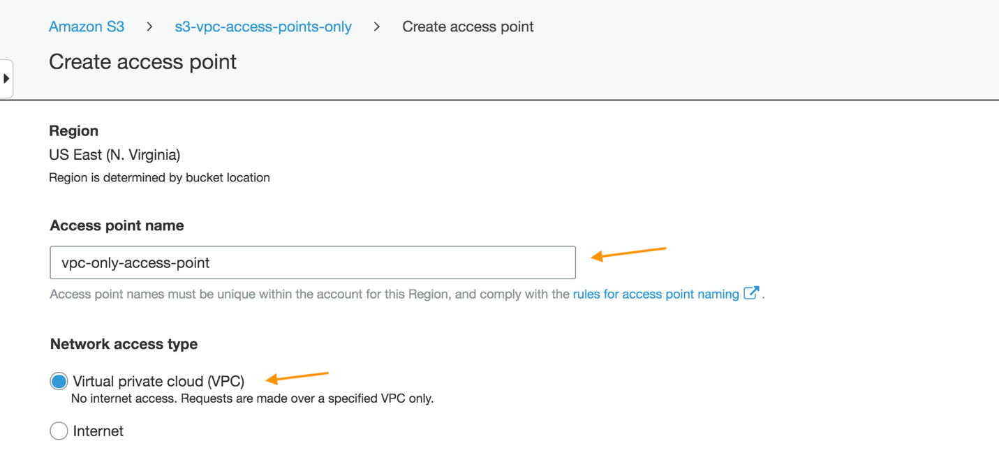 Filling out the Create access point page by providing a name and selecting VPC for Network access type