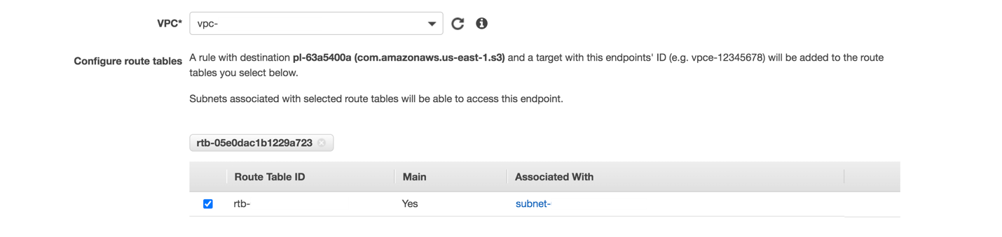 Select the VPC and subnet where you want the endpoint to be created. Only resources in the selected subnets are able to access the Amazon S3 endpoint.