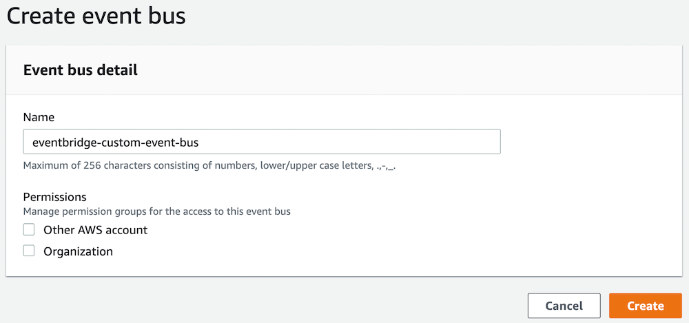 Create an Amazon EventBridge custom event bus and rules for customer event patterns